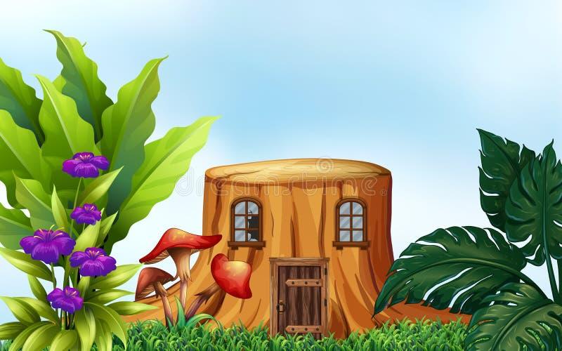 Árbol del tocón con las ventanas y la puerta ilustración del vector
