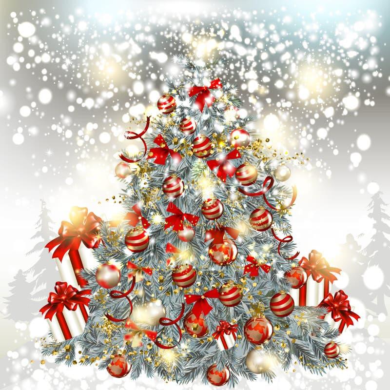 Árbol del vector de la Navidad en un fondo de plata de las partículas del brillo libre illustration