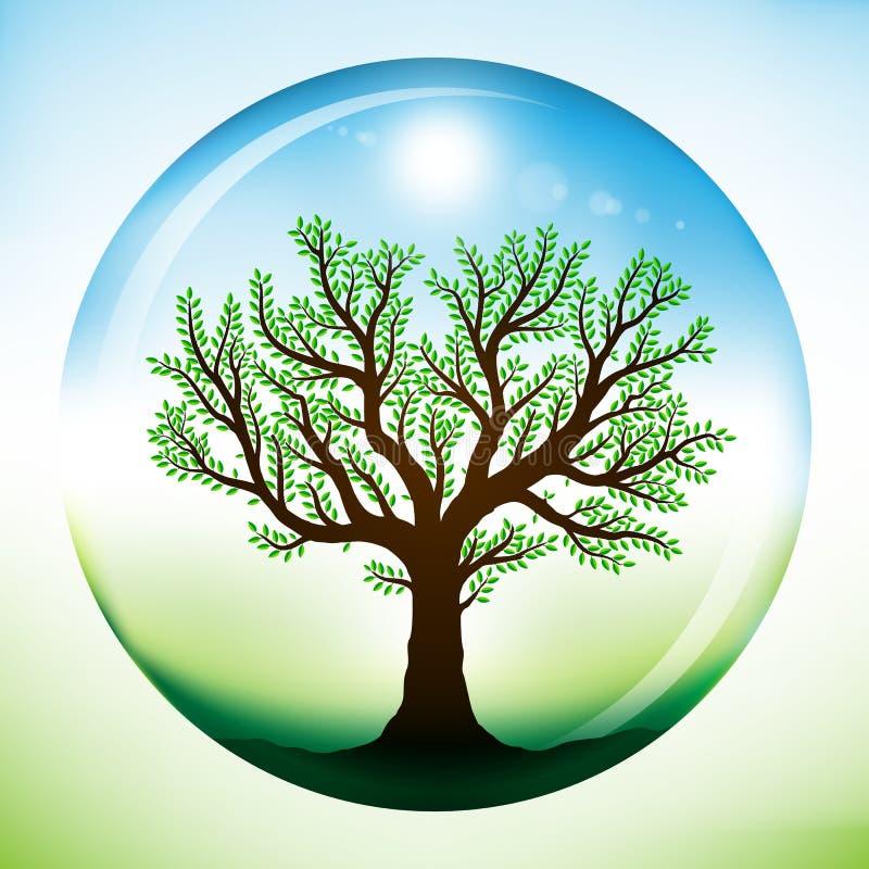 Árbol del verano dentro del globo de cristal stock de ilustración