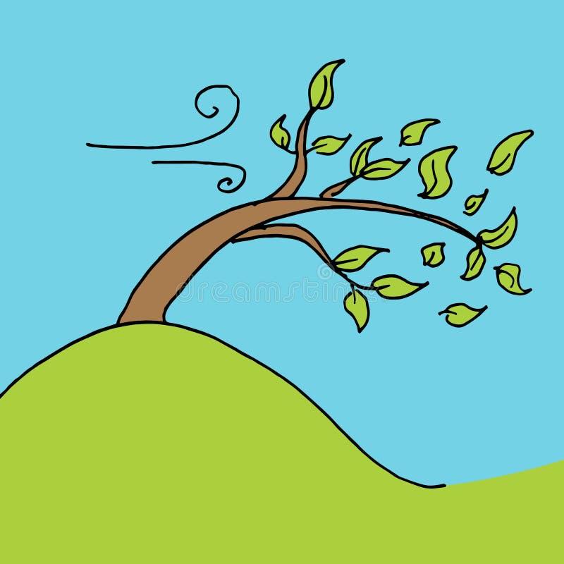 Árbol descargado hojas en un día ventoso stock de ilustración