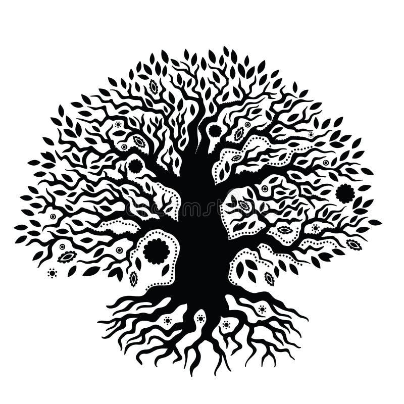 Árbol dibujado mano hermosa del vintage de la vida stock de ilustración