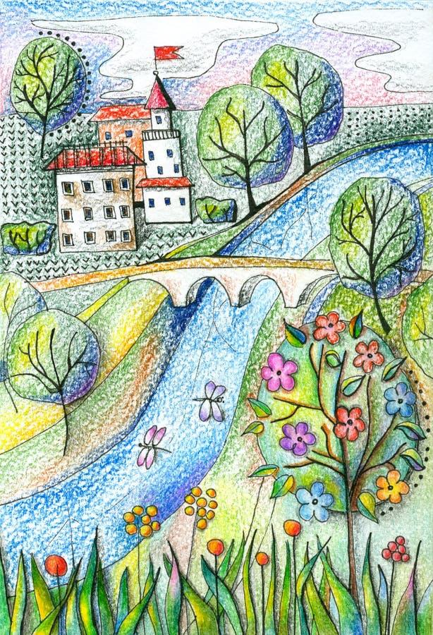 Árbol en campo Ajardine con el río, la ciudad, el puente, los árboles y las flores stock de ilustración