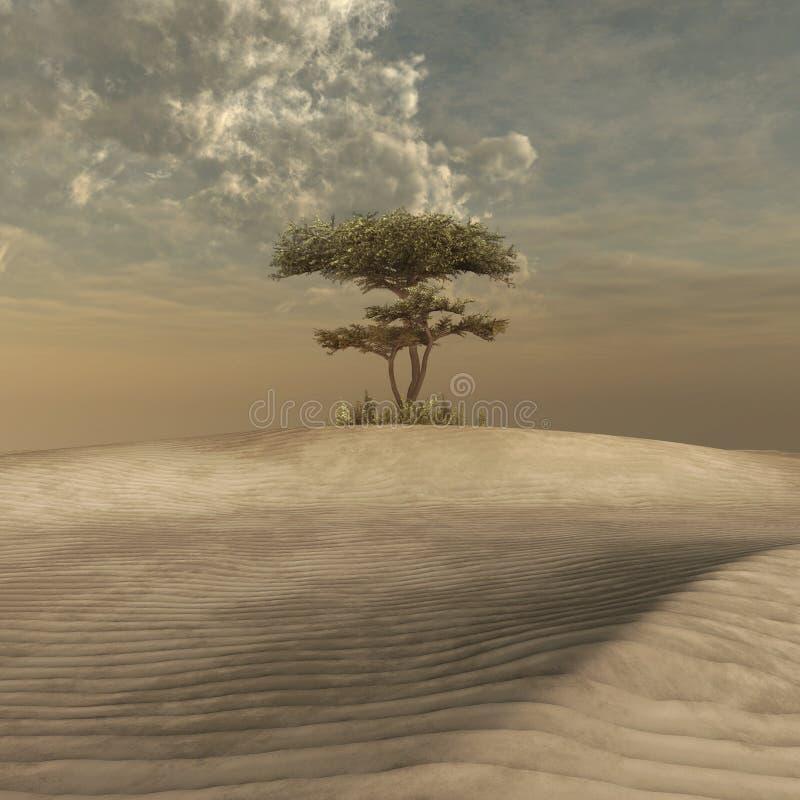 Árbol en el medio de un desierto libre illustration