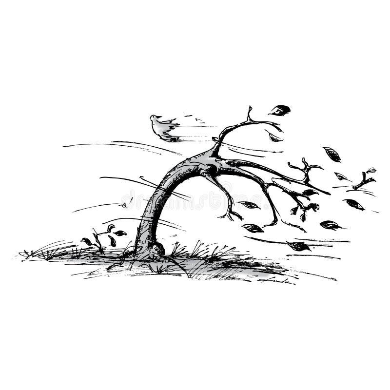 Árbol en el viento stock de ilustración