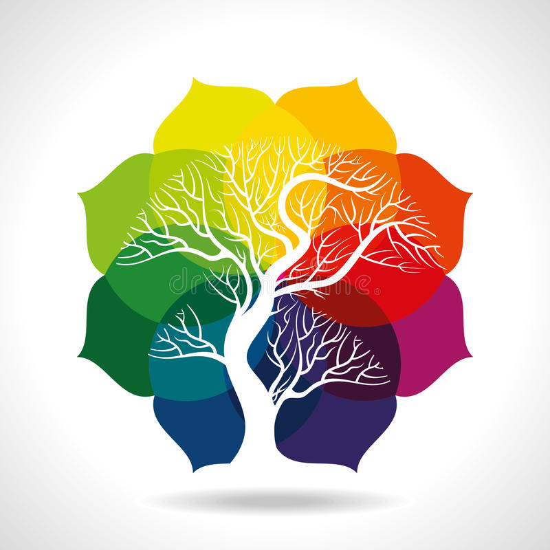 Árbol en fondo colorido libre illustration