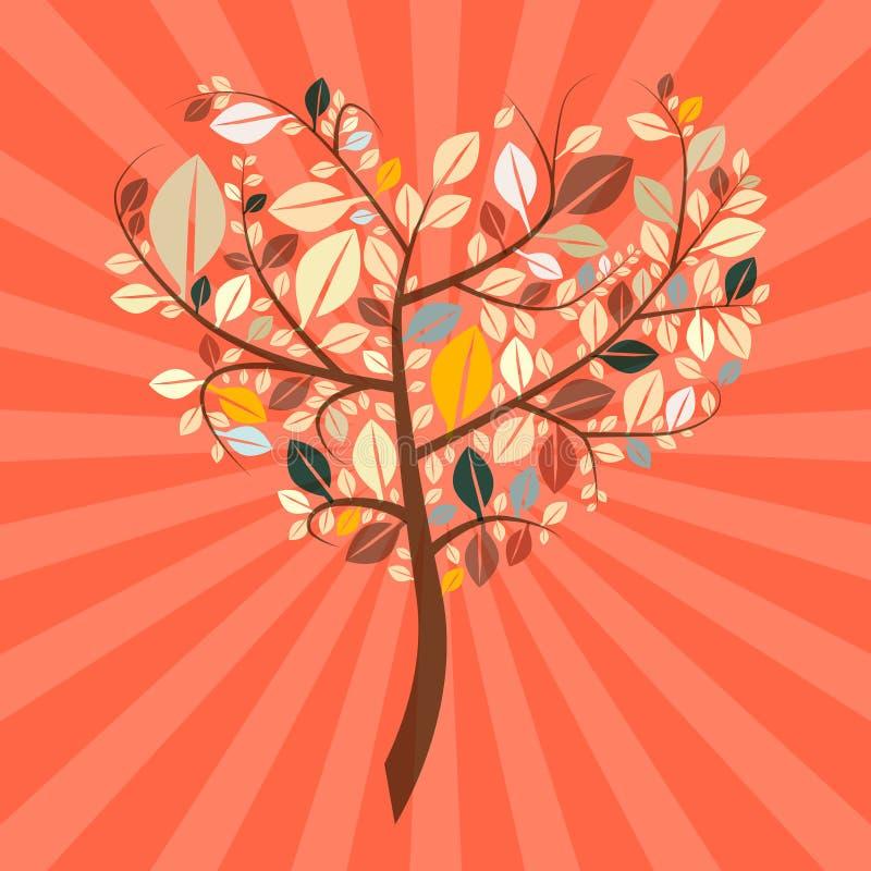 Árbol en forma de corazón retro del vector abstracto ilustración del vector