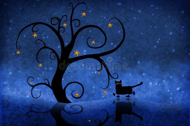Árbol en la noche con estrellas y un gato ilustración del vector