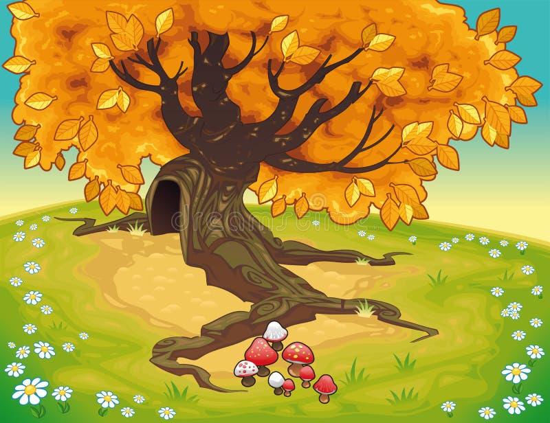 Árbol en paisaje otoñal. ilustración del vector