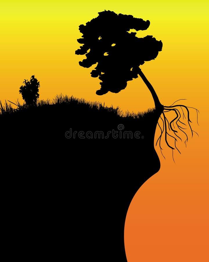 Árbol en un acantilado stock de ilustración