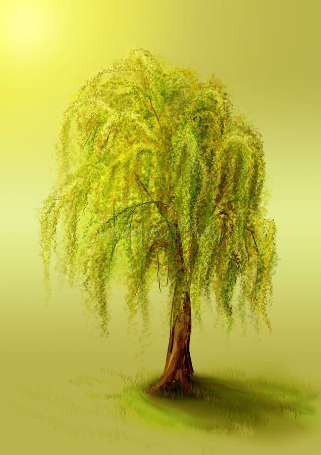 Árbol en un césped ilustración del vector