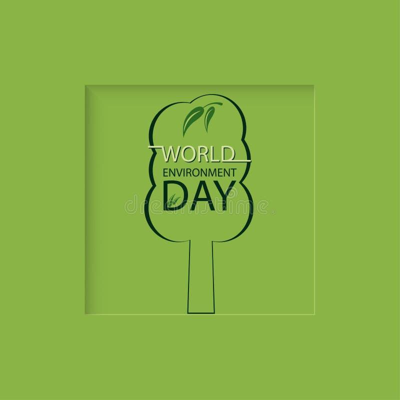 Árbol en un día verde del ambiente mundial del fondo libre illustration