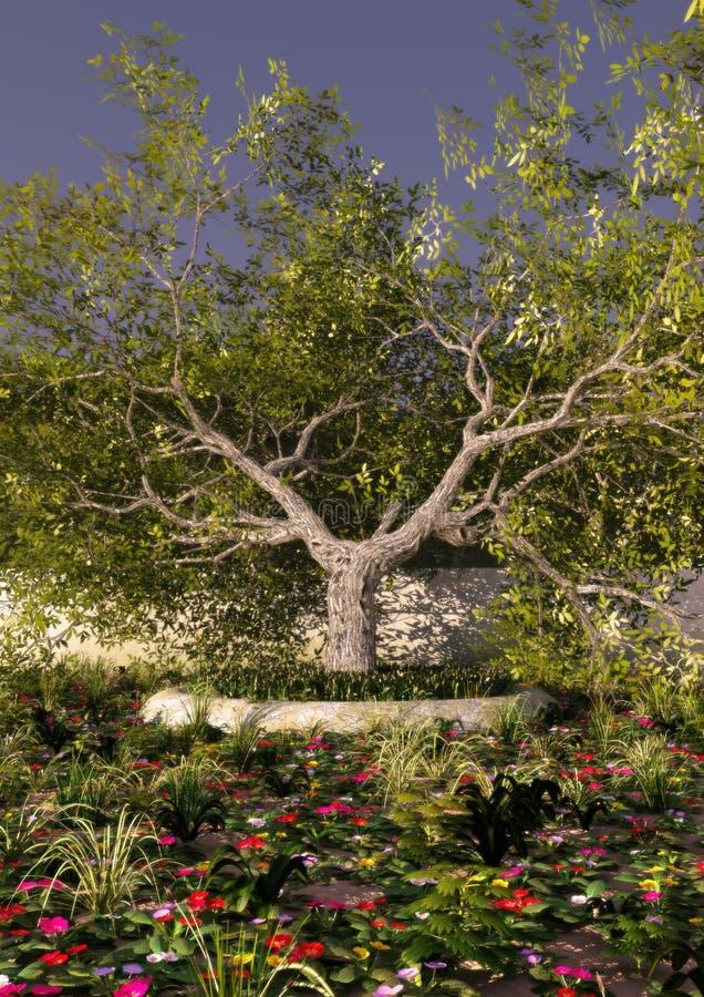 Árbol en un jardín en una puesta del sol stock de ilustración