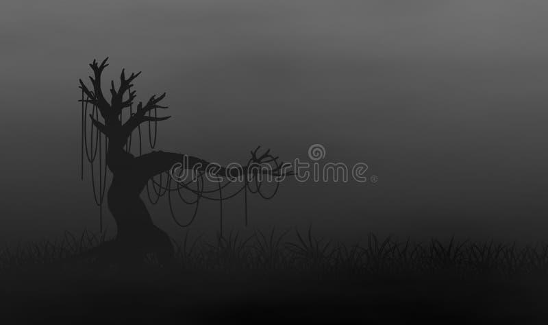 Árbol espeluznante en la hierba archivada con niebla libre illustration