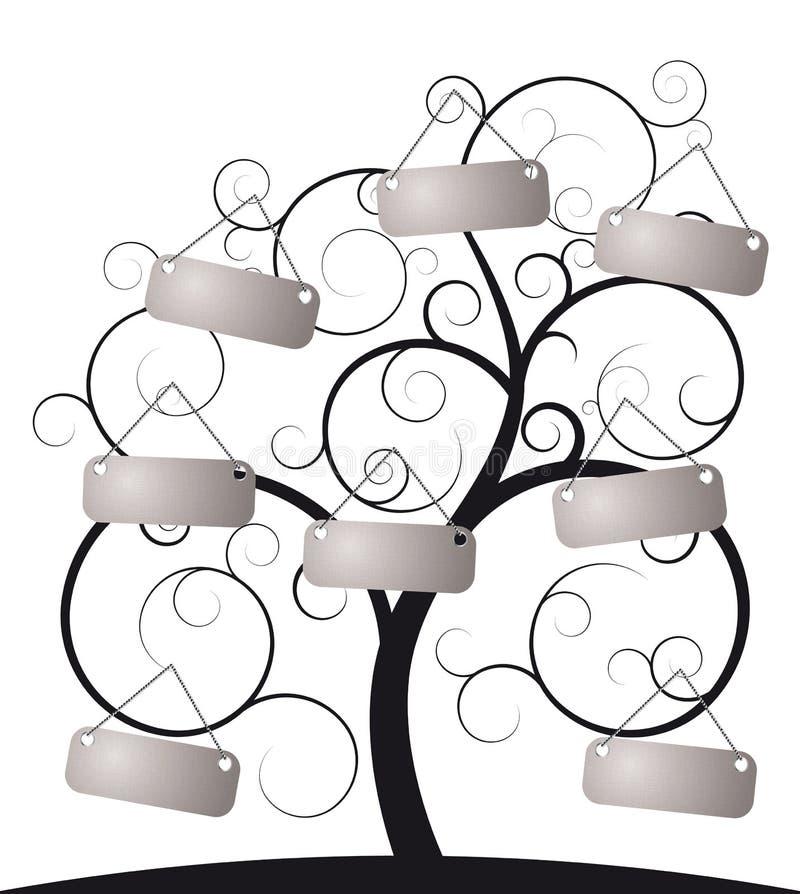 Árbol espiral con la escritura de la etiqueta ilustración del vector