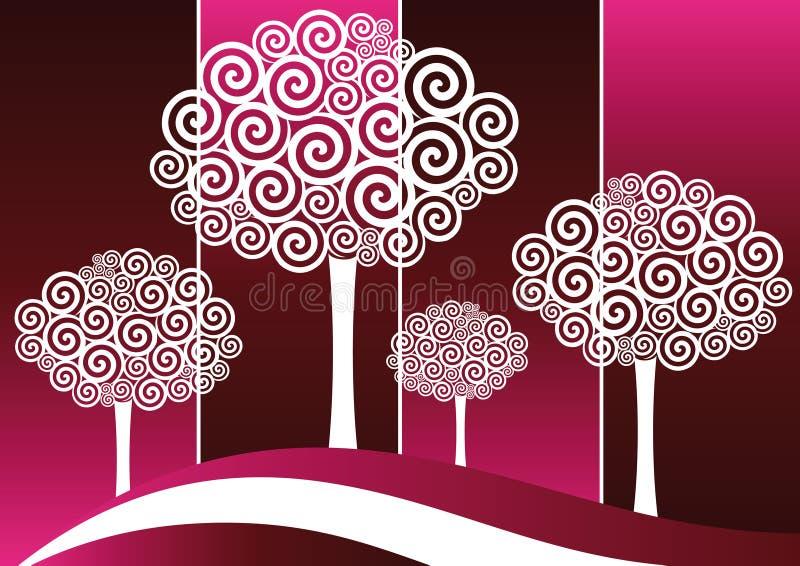Árbol espiral Silohuttes stock de ilustración