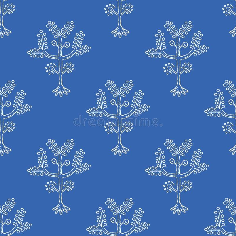 Árbol estilizado del modelo inconsútil del vector de la vida Rama popular de la flor con la fruta ilustración del vector