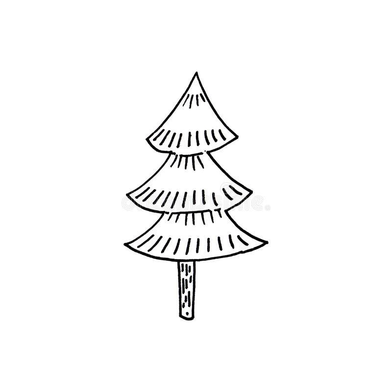 Árbol exhausto de la mano del Año Nuevo en el fondo blanco ilustración del vector
