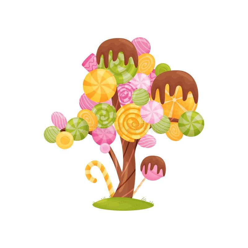 Árbol fabuloso con los caramelos coloridos en las ramas Ilustraci?n del vector en el fondo blanco stock de ilustración