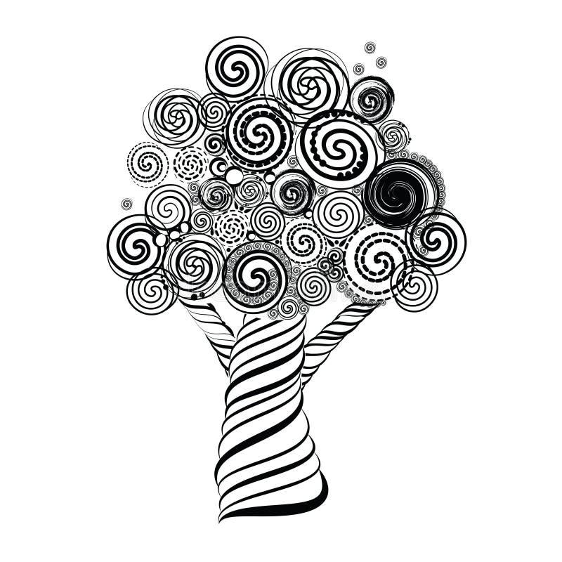 Árbol fabuloso con los rizos Doodle el estilo Ilustración del vector stock de ilustración
