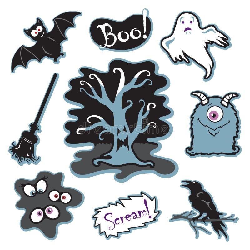 Árbol fantasmagórico de Halloween con la cara, el monstruo tonto, los ojos en oscuridad, y más ilustración del vector