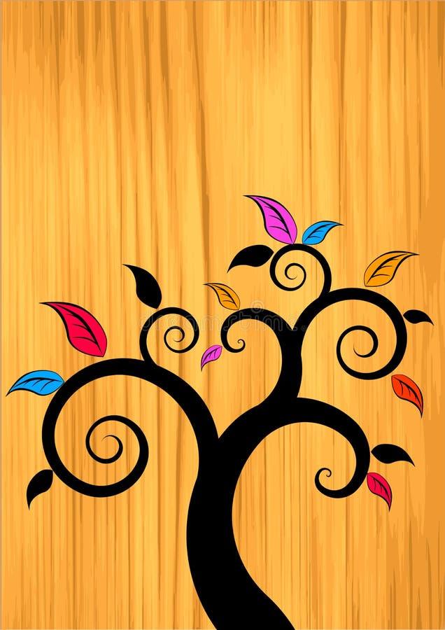 Árbol floral en la madera ilustración del vector