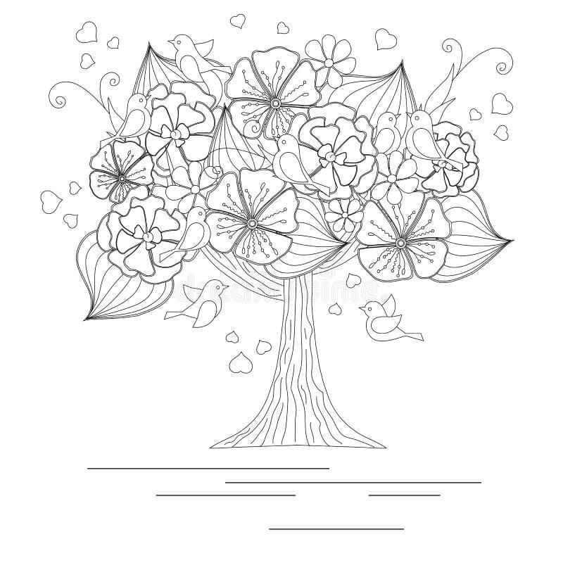 Árbol floreciente con los pájaros cariñosos para el libro de colorear libre illustration
