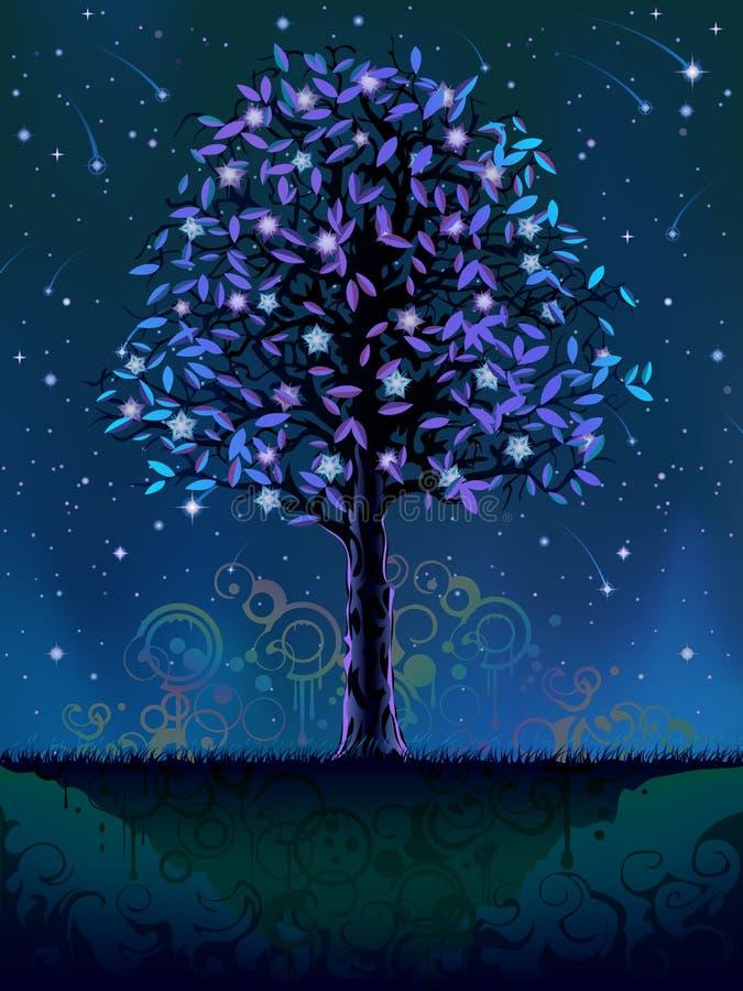 Árbol floreciente de la noche ilustración del vector