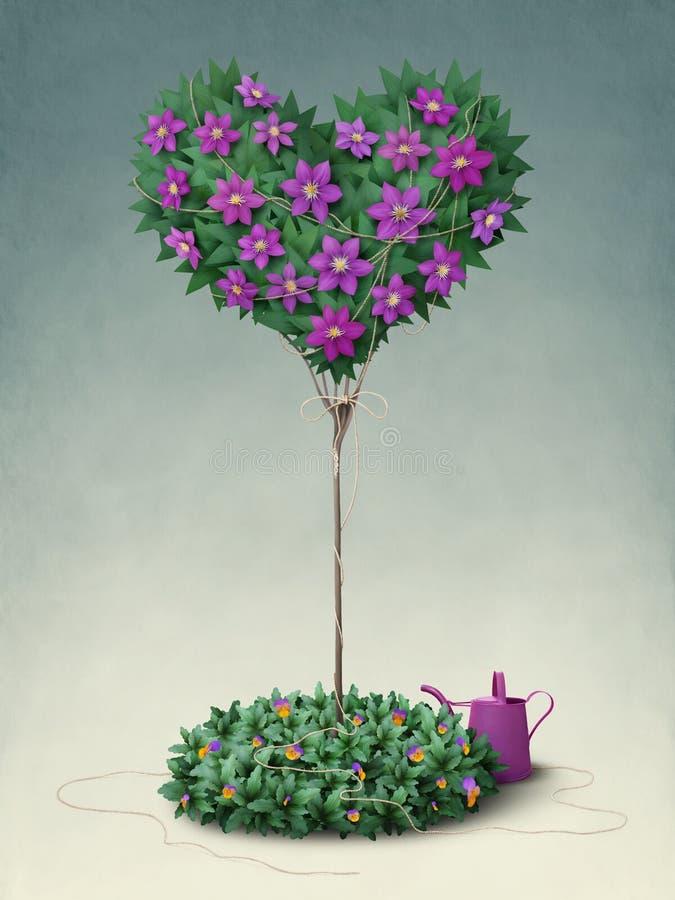 Árbol floreciente en la dimensión de una variable del corazón. Saludo ilustración del vector