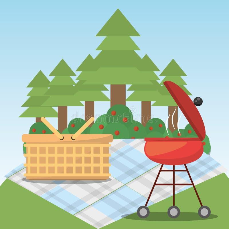 Árbol forestal de la manta de la cesta de la parrilla de la comida campestre libre illustration