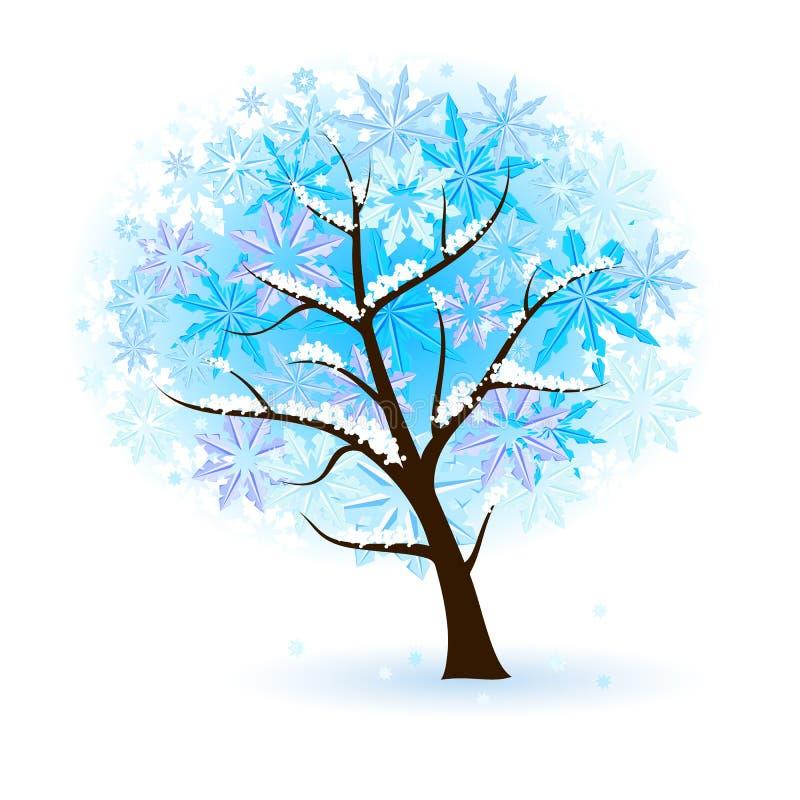 Árbol frutal estilizado del invierno ilustración del vector