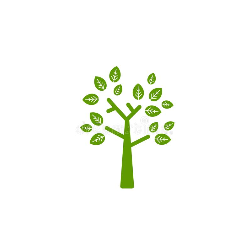 Árbol Geométrico Plano Verde Con Las Hojas Rectas Del Sostenido De ...