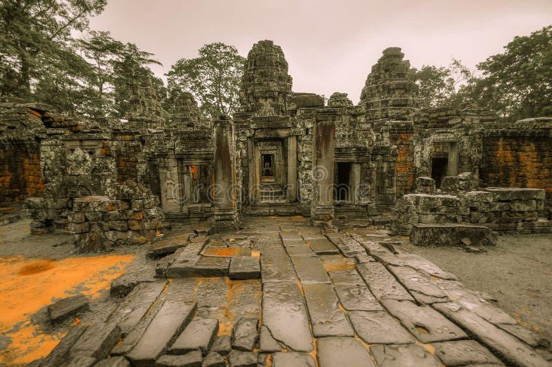 Árbol gigante que cubre el templo del baile de fin de curso y de Angkor Wat de TA, Siem Reap, Ca fotos de archivo libres de regalías