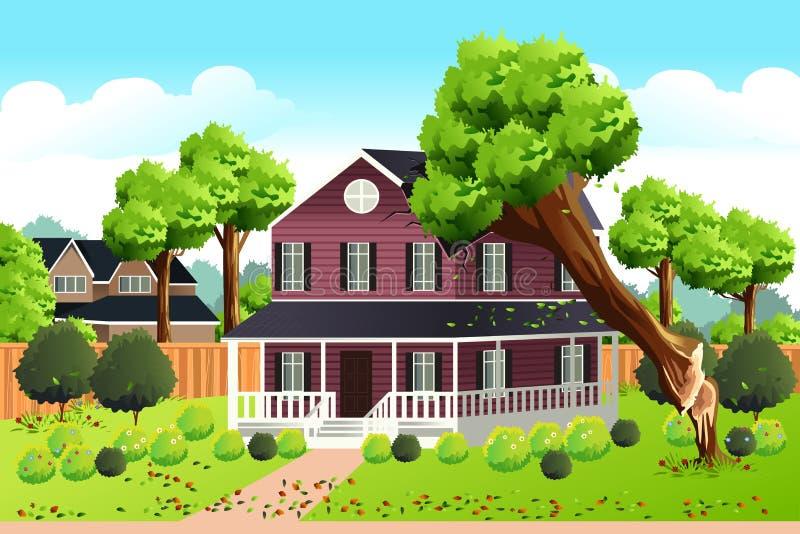 Árbol grande que cae en el tejado de una casa ilustración del vector