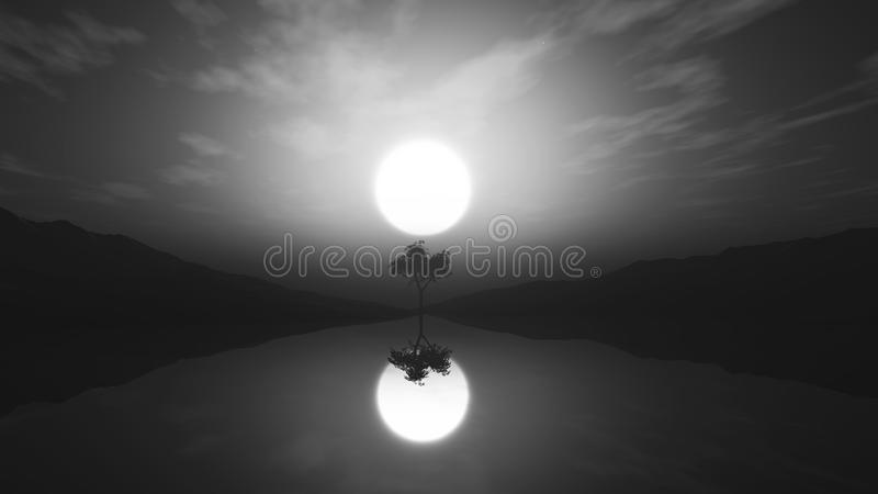 árbol greyscale 3D en paisaje brumoso con la reflexión en agua stock de ilustración