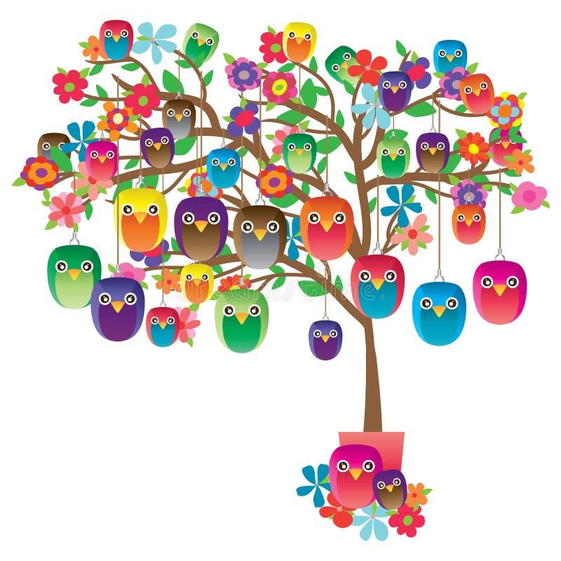 Árbol hecho a mano de la decoración del búho stock de ilustración