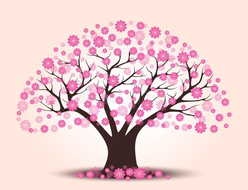 Árbol hermoso decorativo de la flor de cerezo con el fondo stock de ilustración