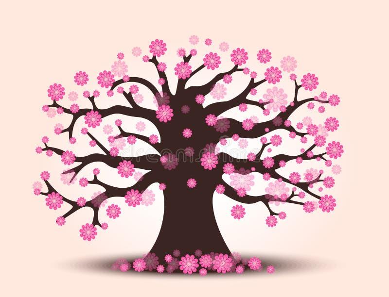 Árbol hermoso decorativo de la flor de cerezo con el fondo ilustración del vector