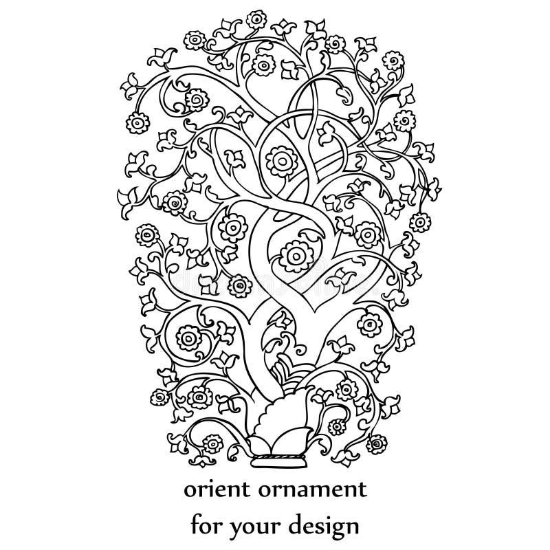 Árbol hermoso en el estilo medieval de Oriente libre illustration