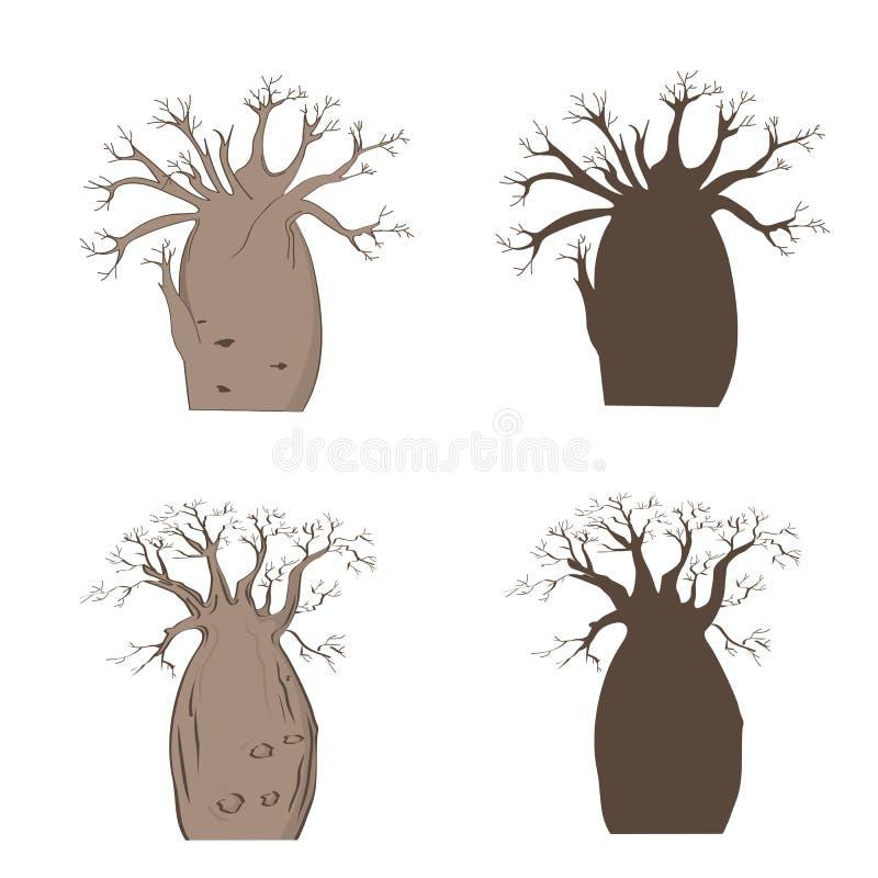 Árbol icónico africano Sistema del baobab del vector Silueta del gregorii del Adansonia stock de ilustración