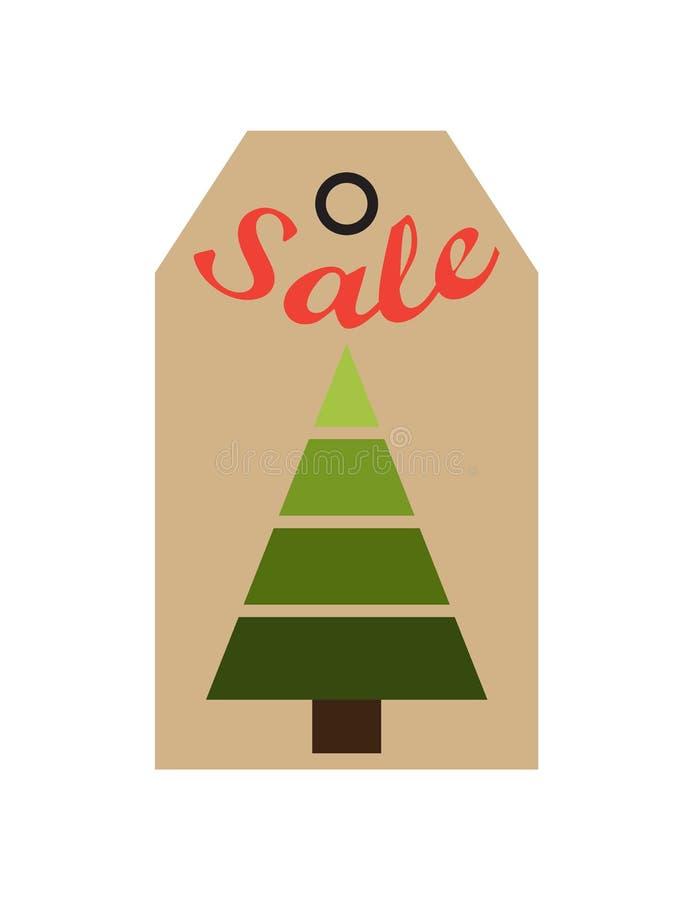 Árbol imperecedero de la etiqueta del promo de la venta de figuras geométricas libre illustration