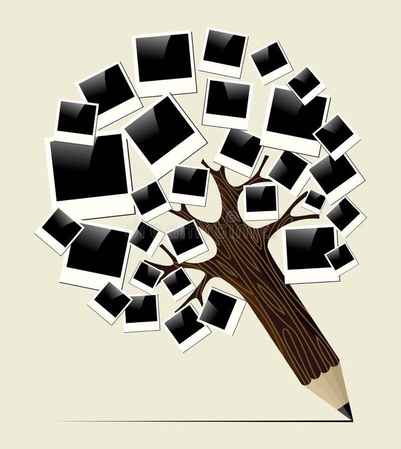 Árbol inmediato retro del lápiz del concepto de la foto stock de ilustración
