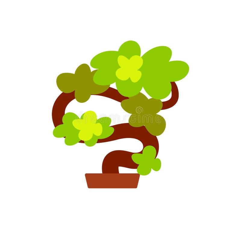 Árbol japonés de los bonsais, planta crecida en icono del pote stock de ilustración