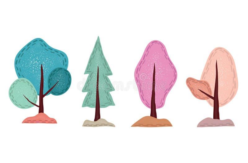 Árbol lindo exhausto de la mano, con los modelos editable stock de ilustración