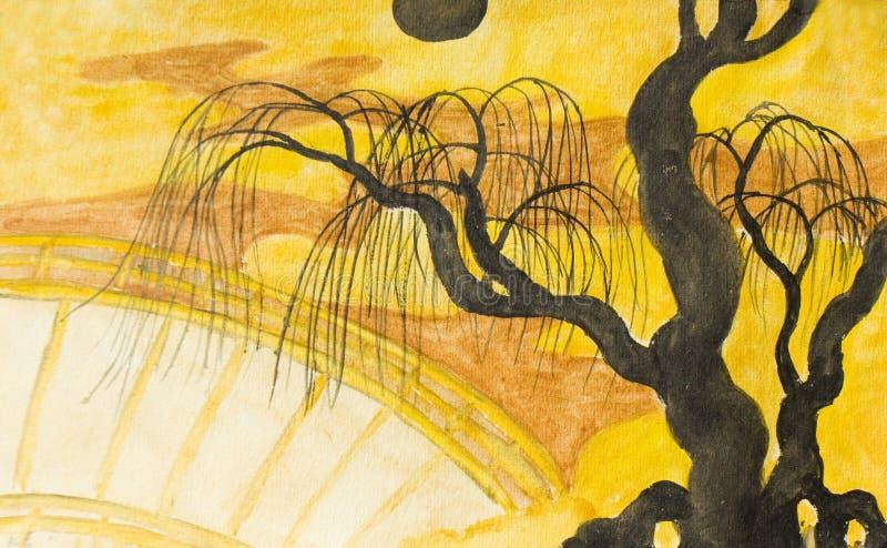 Árbol, luna y puente, pintando ilustración del vector