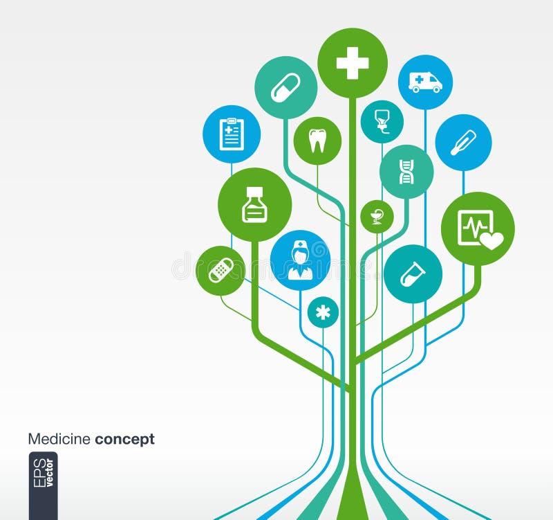 Árbol médico, salud, concepto del crecimiento de la atención sanitaria ilustración del vector