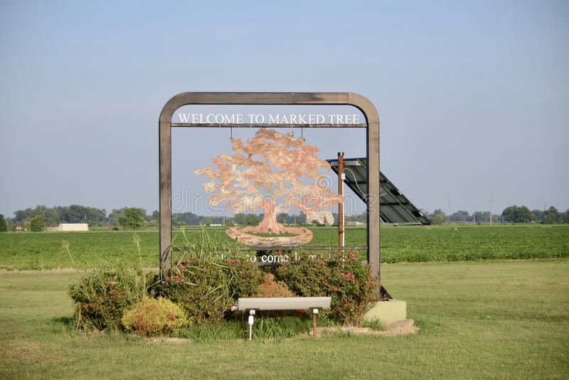 Árbol marcado Arkansas el condado de Poinsett fotos de archivo libres de regalías