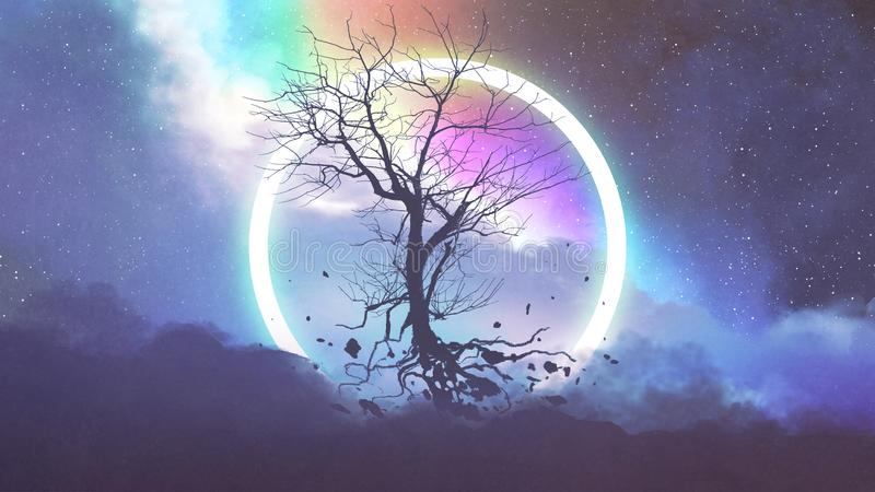 Árbol muerto que flota en el cielo nocturno ilustración del vector