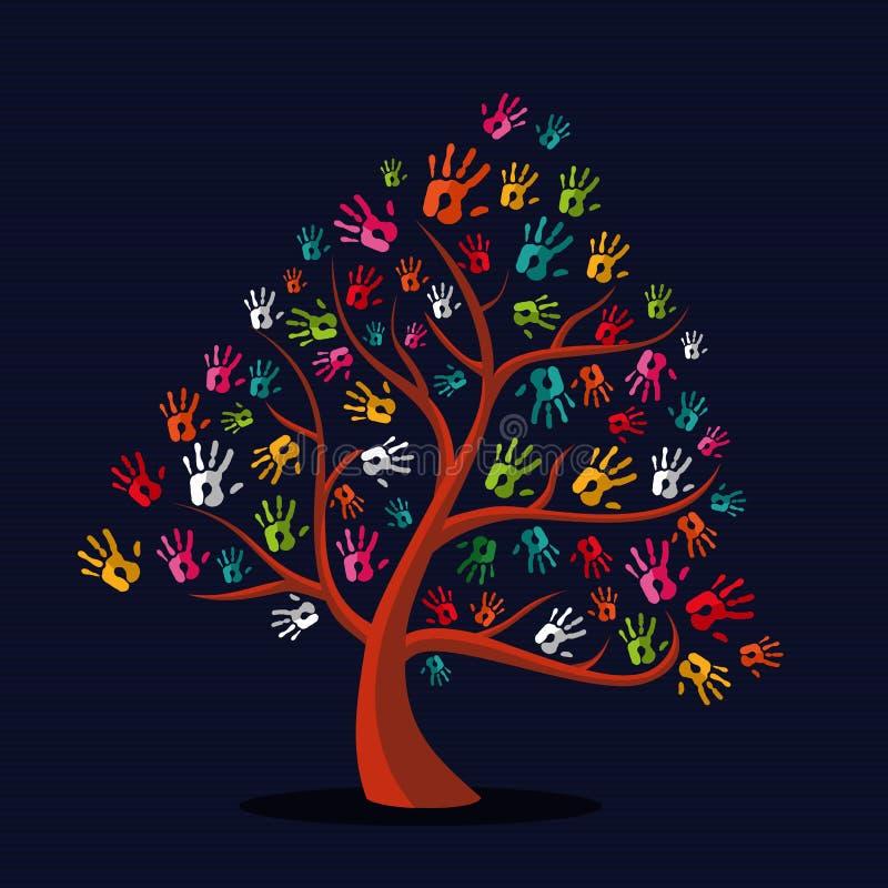 Árbol multi-étnico colorido de la impresión de la mano ilustración del vector