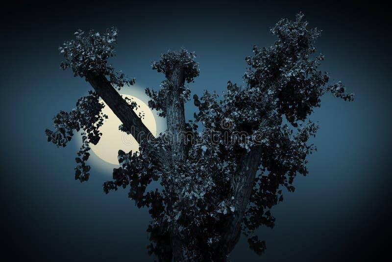 Árbol negro asustadizo en un fondo azul imagenes de archivo