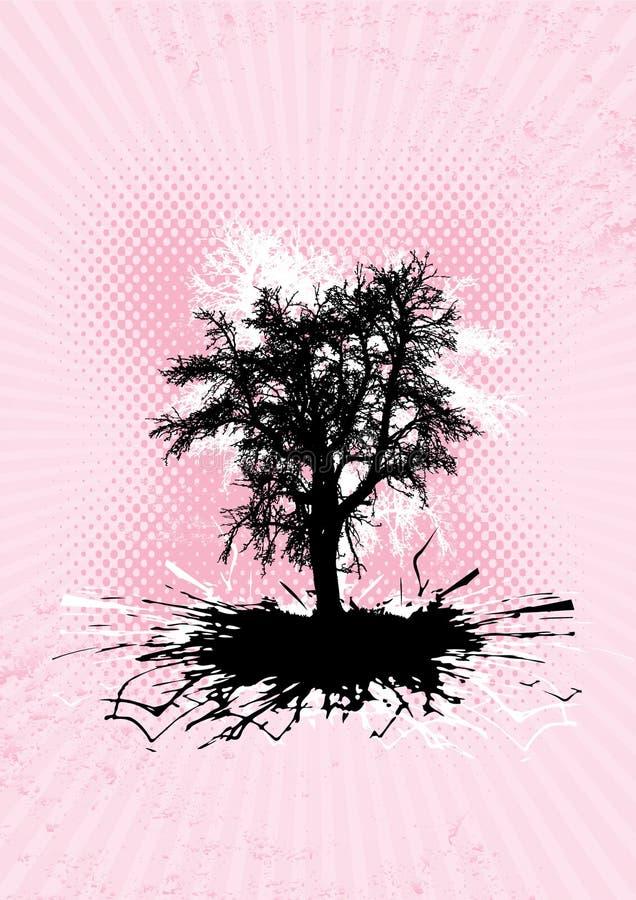 Árbol negro con las raíces del chapoteo. stock de ilustración